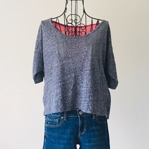 Gray & Pink Layered Top-Choose any 3 for $12